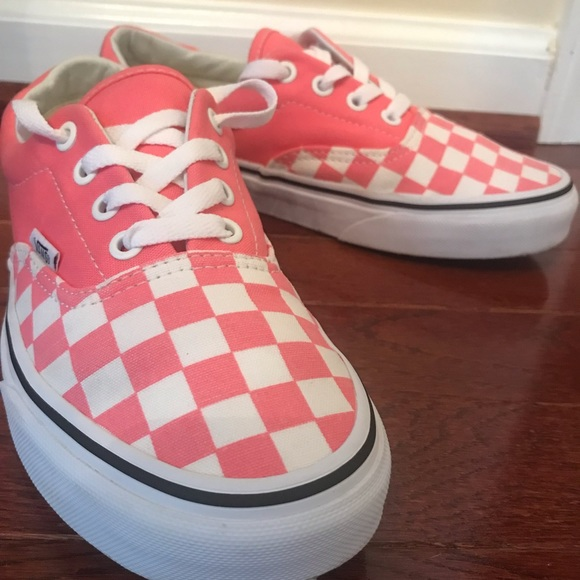 pink checkerboard vans lace up off 56